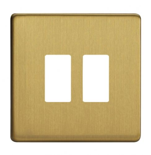 Varilight XDBPGY2S Screwless Brushed Brass 2 Gang Grid Plate (Single Plate)